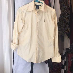 Yellow striped Ralph Lauren Long sleeved button up